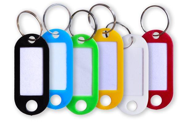 Plastové jmenovky na klíče 5 × 2 cm, 20 ks - mix barev