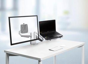 NOVUS Clu Duo Držák na monitor a notebook s upevněním na stůl - stříbrný