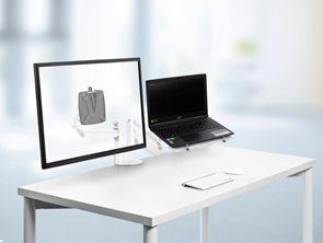 NOVUS Clu Duo Držák na monitor a notebook s upevněním na stůl - bílý