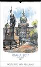 Kalendář nástěnný 2017 - Praha akvarel