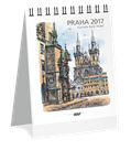 Kalendář stolní 2017 - Praha akvarel micro-mini