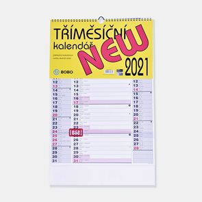 BOBO Kalendář nástěnný 2021 tříměsíční New