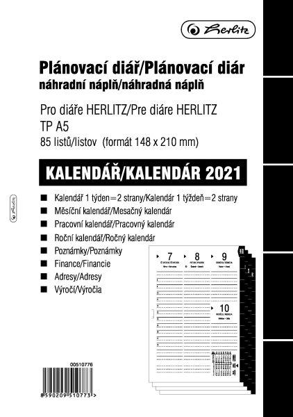 Herlitz Náplň do diáře A5, 84 listů, TP česká 2021