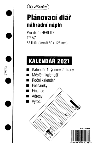 Herlitz Náplň do diáře A7, 84 listů, TP česká 2021