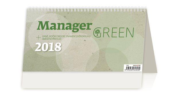 Kalendář stolní 2018 - Manager Green - 246 x 130 mm