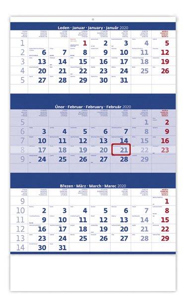 Kalendář nástěnný 2020 - Tříměsíční modrý