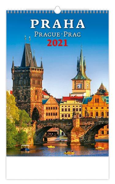 Kalendář nástěnný 2021 - Praha/Prague/Prag - 31,5x45 cm