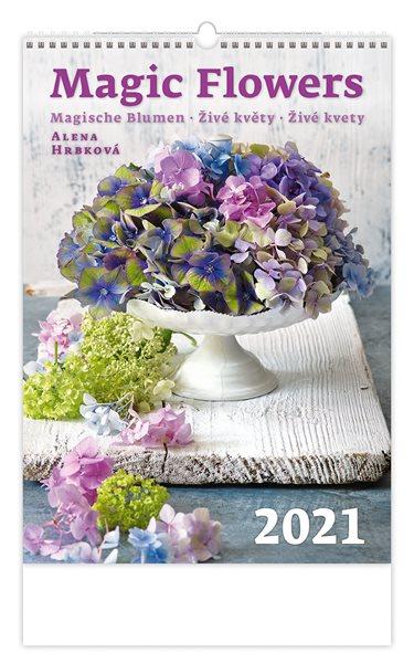 Kalendář nástěnný 2021 - Magic Flowers/Magische Blumen/Živé květy - 31,5x45 cm