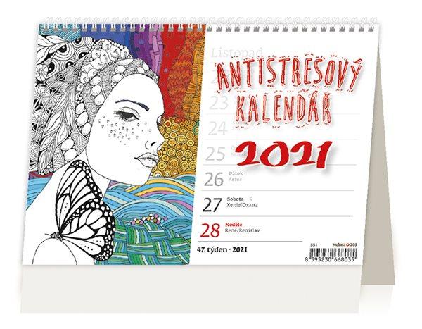 Kalendář stolní 2021 - Antistresový pracovní - 21,1 x 14,8 cm