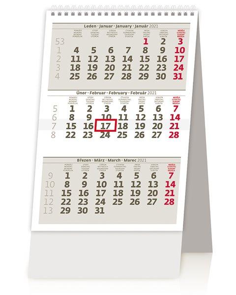Kalendář stolní 2021 - MINI tříměsíční kalendář/MINI trojmesačný kalendár - 11x16 cm
