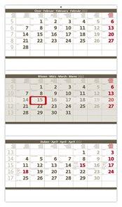 Kalendář nástěnný 2022 - Tříměsíční skládaný šedý