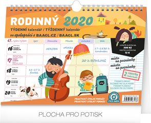 Týdenní rodinný plánovací kalendář 2020 s háčkem, 30 × 21 cm