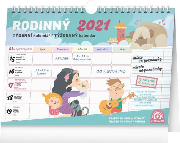 Týdenní rodinný plánovací kalendář 2021 s háčkem, 30 × 21 cm