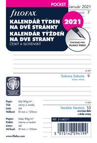 Filofax Náplň 2021 pro kapesní diář týdenní česká