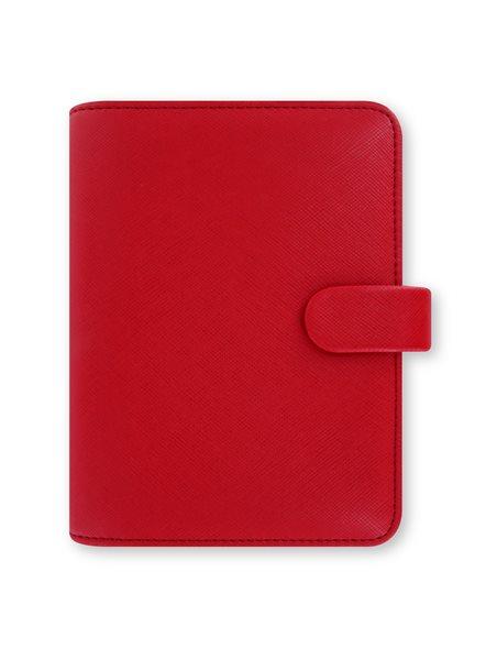 Filofax Kroužkový diář 2021 Saffiano kapesní - červený - 145 x 115 x 34 mm