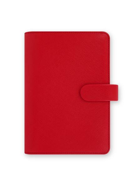 Filofax Kroužkový diář 2021 Saffiano osobní - červený - 188 x 135 x 35 mm