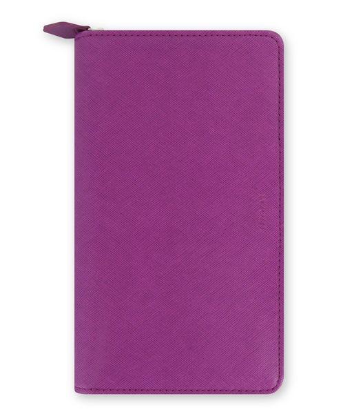 Filofax Kroužkový diář 2022 Saffiano osobní compact zip - fialový - 208 x 125 x 31 mm