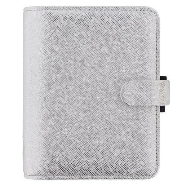 Filofax Kroužkový diář 2021 Saffiano Metallic kapesní - Silver
