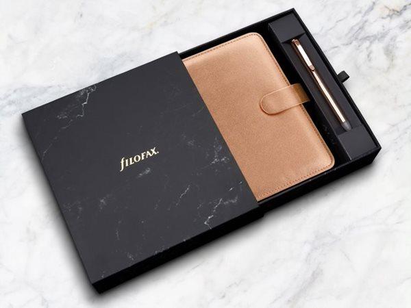Filofax Dárková sada Diář Saffiano Metallic osobní Rose Gold + Clipbook gumovací pero