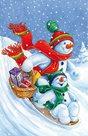 Stil Vánoční sáček s křížovým dnem 24,5×38 cm - Sněhuláci s dárky