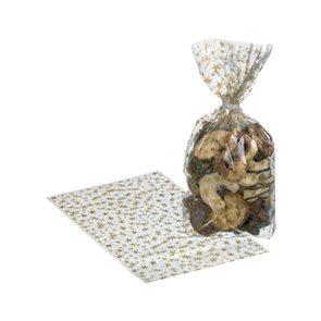 Dárkové sáčky 18 × 30 cm, 10 ks - Zlaté hvězdičky