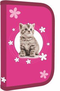 Školní penál - 1 patrový s chlopní - Kočka