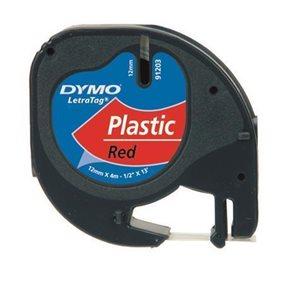 Páska DYMO Letratag 12 mm × 4 m, červená, plast
