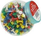 Připínáčky pro korkové nástěnky 200 ks v plastové dóze - mix barev