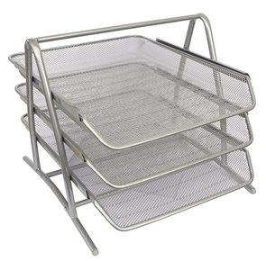 Drátěný stojan trojbox - stříbrný
