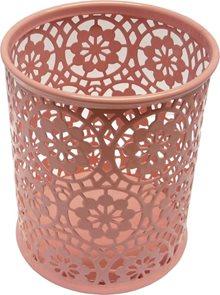 Drátěný stojánek na tužky kulatý, ornament - růžový