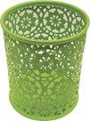 Drátěný stojánek na tužky kulatý, ornament - zelený