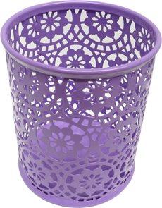 Drátěný stojánek na tužky kulatý, ornament - fialový