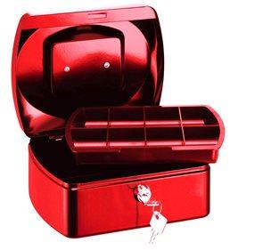 RON Kovová pokladna 15,5 × 12 × 8 cm - červená