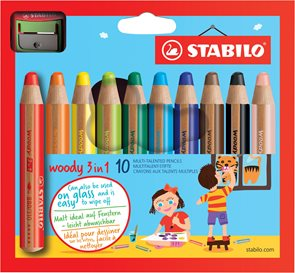 STABILO woody 3 in 1 - sada 10 barev s ořezávátkem