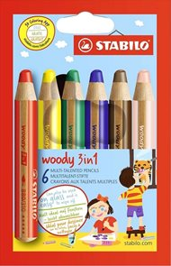 STABILO woody 3 in 1 - sada 6 barev