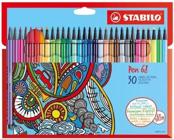 STABILO Pen 68 Vláknový fix - sada 30 barev
