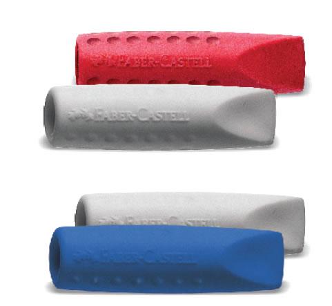 Stěrací pryž a chránič Faber-Castell Grip 2001 2ks - šedá/malinová/modrá