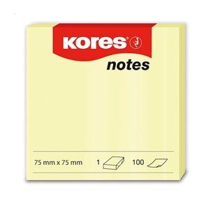 Kores Samolepicí bloček 75x75 100 listů - žlutý