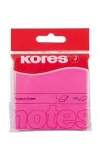 Kores Samolepící bločky 75x75 Neon - růžové