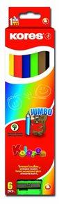 Kores Trojhranné pastelky Jumbo 5mm s ořezávátkem - 6ks