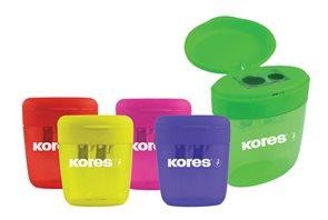 Kores Ořezávátko plastové dvojité se zásobníkem - mix barev