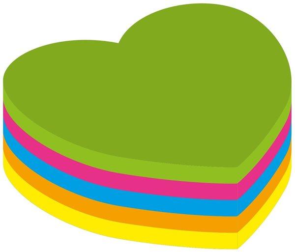 Kores Samolepící bloček Heart 70x70mm - neon