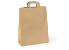 Papírová taška s plochým uchem 32 × 20 × 28 cm, 80 g - hnědá