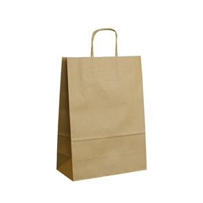 Papírová taška s krouceným uchem 28 × 17 × 27 cm, 80 g - hnědá