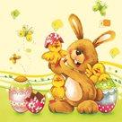 Stil Ubrousky 33 x 33 Velikonoce - Zajíček s kuřátky