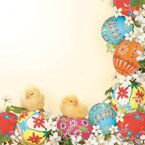 Stil Ubrousky 33 x 33 Velikonoce - Velikonoční vajíčka s kuřátky