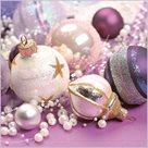 Stil Ubrousky 33 x 33 - Vánoční ozdoby fialovo-stříbrné
