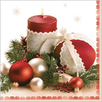 Stil Ubrousky 33 x 33 - Vánoční ozdoby se svíčkou