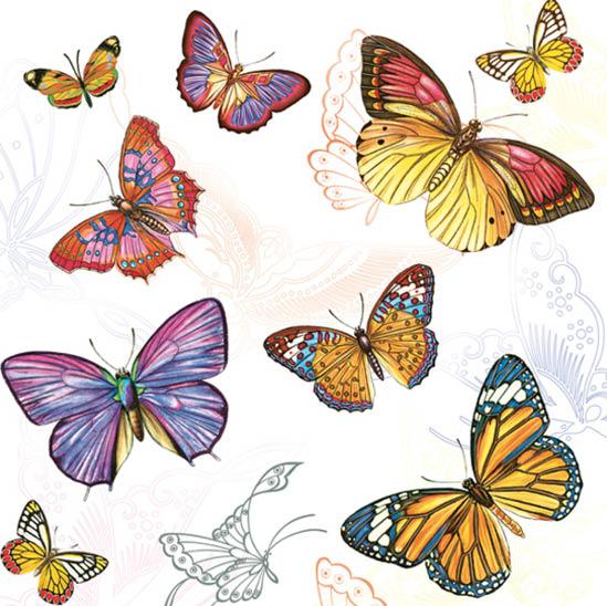 Stil Ubrousky 33 x 33 dekorativní - Motýli