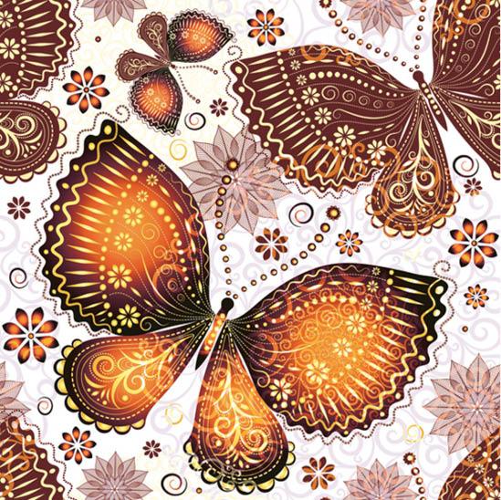 Stil Ubrousky 33 x 33 dekorativní - motýli - oranžová